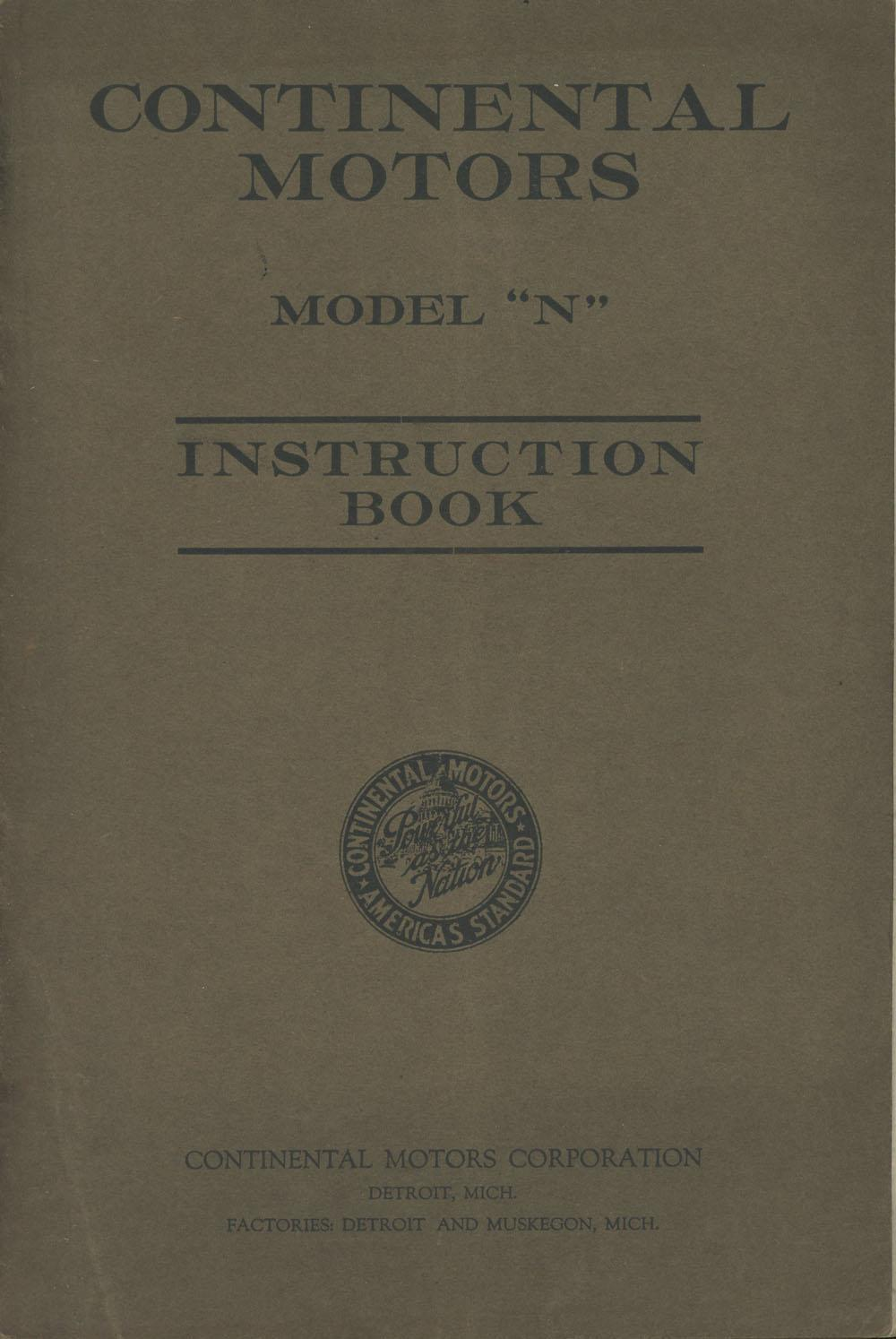 """Continental Motors: A Book of Instructions for the Care of Model """"N"""": n/a"""