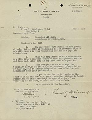 Two Signed Documents on Navy Department Letterhead (c.1918): Roosevelt, Franklin D.