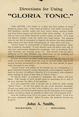 Directions for Using Gloria Tonic, Tablets for Rheumatism and Other Ills: John A. Smith