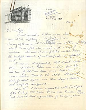 Letter Detailing a U.F.O Sighting in April of 1979, with Photocopied Articles from 1909 U.F.O. ...