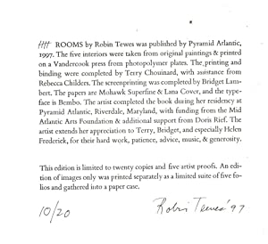 IIII Rooms, SIGNED by Robin Tewes: Tewes, Robin