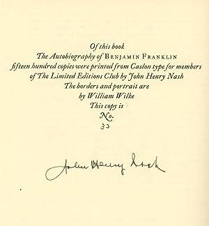 The Autobiography of Benjamin Franklin, SIGNED by: Franklin, Benjamin; Edward