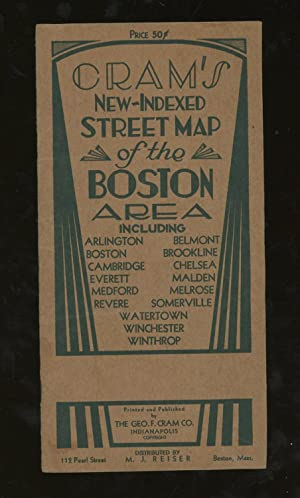 Cram's New- Indexed Map of the Boston Area, Including Arlington, Belmont, Boston, Brookline, Camb...