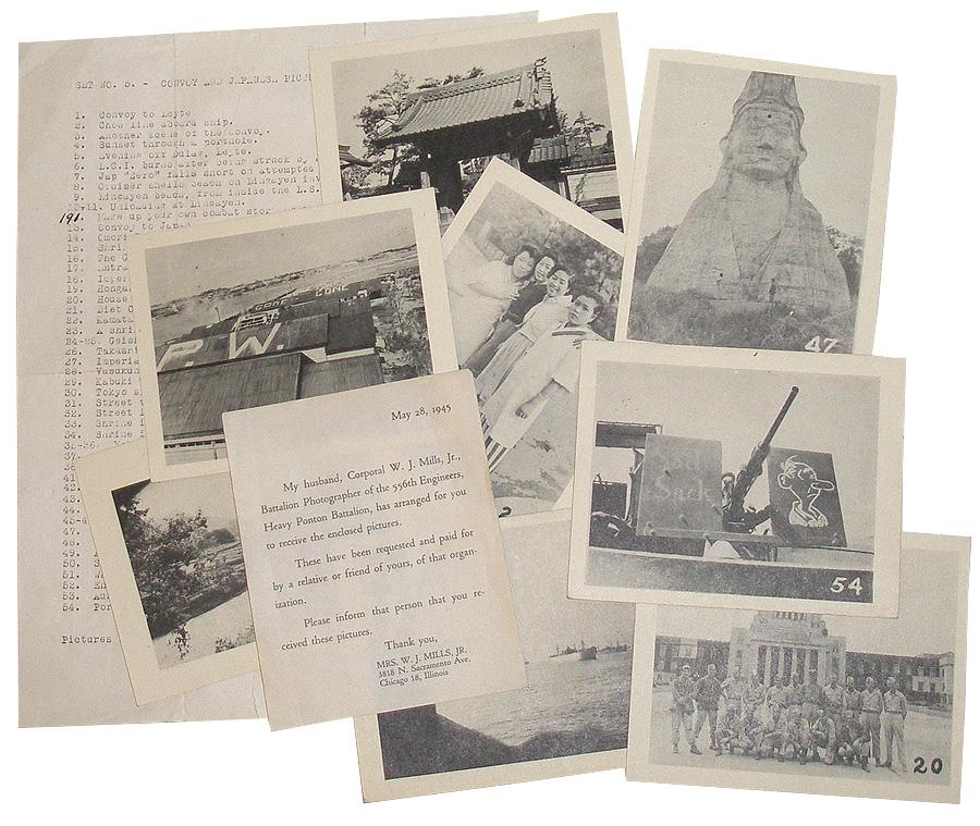 Set No. 5 - Convoy and Japanese Pictures: 53 Photographic Reproductions from WWII Mills, Will J.; [556 Engineers] Near Fine