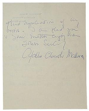 Autograph Letter Signed: Christie, Agatha