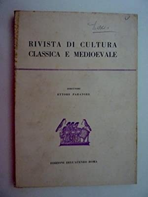 RIVISTA DI CULTURA CLASSICA E MEDIOEVALE Direttore: AA.VV.