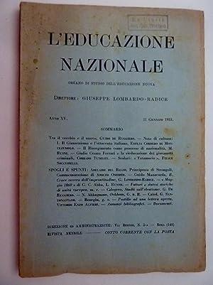 L'EDUCAZIONE NAZIONALE Organo di Studio sull'Educazione Nuova: AA.VV.