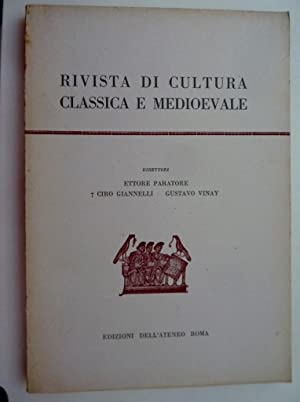RIVISTA DI CULTURA CLASSICA E MEDIOEVALE Direttori: AA.VV.