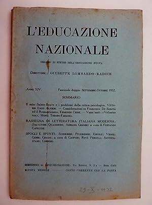 L'EDUCAZIONE NAZIONALE Organo di Studio dell'Educazione Nuova,: AA.VV.