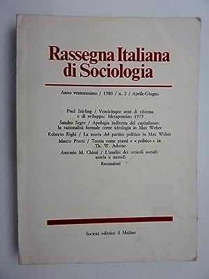RASSEGNA ITALIANA DI SOCIOLOGIA Anno Ventunesimo /1980: AA.VV.