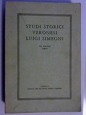 STUDI STORICI VERONESI LUIGI SIMEONI Vol. XXX: AA.VV.