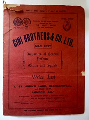 CINI BROTHERS & CO,LTD. MAR. 1927 Importers of General Produce, Wines and Spirits PRICE LIST 7, S...