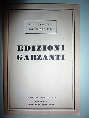 """LISTINO N.° 3 NOVEMBRE 1960 EDIZIONI GARZANTI"""""""