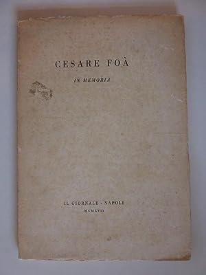 "CESARE FOA' IN MEMORIA"""