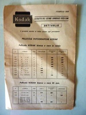 KODAK ESTRATTO LISTINO GENERALE CINE FOTO Febbraio