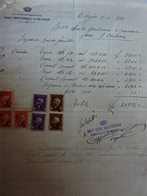 """Documento """"Ricevuta Amministrazione Conti GROTTANELLI Di BELAGAIO"""" Belagaio 05.04.1944"""