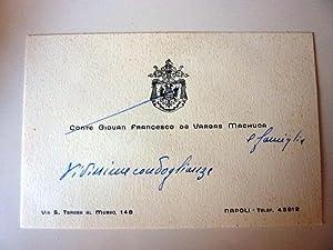 """Cartoncino da Visita manoscritto con busta """"Conte GIOVAN FRANCESCO DE VARGAS MACHUCA Via S. ..."""