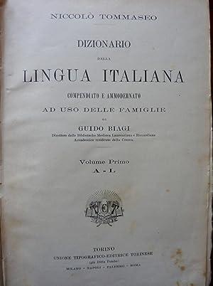 DIZIONARIO DELLA LINGUA ITALIANA Compendiato e Ammodernato ad Uso delle Famiglie da GUIDO BIAGI ...
