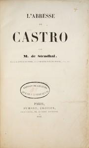 L'Abbesse de Castro par M. de Stendhal,: STENDHAL, Henri Beyle