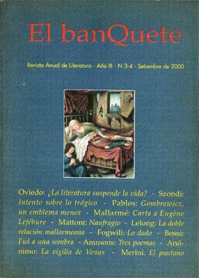 El Banquete. Revista Anual de Literatura, Año III Nº 3-4, Setiembre de 2000: Varios