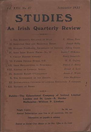 Studies. An Irish Quarterly Review, Vol. XXII No. 87 September 1933
