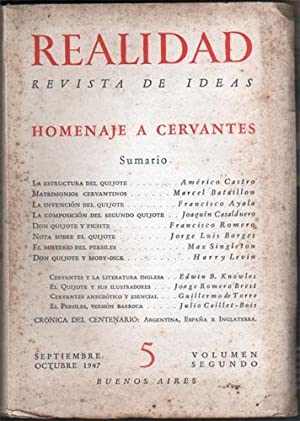 Realidad. Revista de Ideas Nº 5, Volumen Segundo, Septiembre-Octubre 1947 : Homenaje a Cervantes: ...