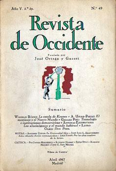 Revista de Occidente. Año V. 2.ª ép. N.º 49, Abril 1967