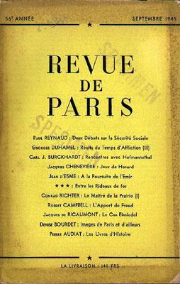 Revue de Paris, Septembre 1949