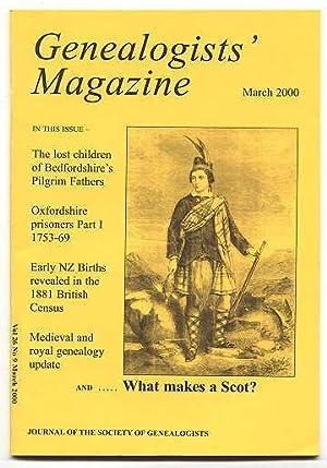 GENEALOGISTS' MAGAZINE. MARCH 2000. VOL. 26 NO.: Leeson, F.L., editor.