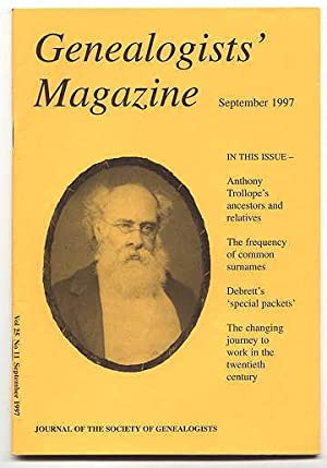 GENEALOGISTS' MAGAZINE. SEPTEMBER 1997. VOL. 25. NO.: Leeson, F.L., editor.