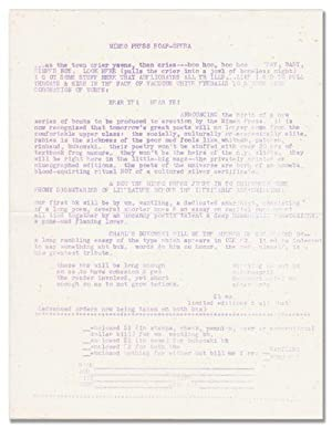 MIMEO PRESS SOAP-OPERA: ANNOUNCEMENT FOR 'CONFESSIONS OF: Bukowski, Charles and