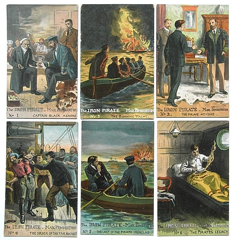 THE IRON PIRATE Rare Set of Six early circa 1900s Chromolithographic Postcards depicting Scenes from the Book Max Pemberton