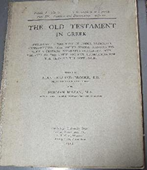 The Old Testament in Greek According to the Text of Codex Vaticanus, Supplemented From Other Uncial...