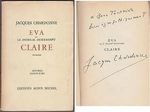 EVA / CLAIRE 1952 DEDICACE Envoi SIGNED: Jacques CHARDONNE