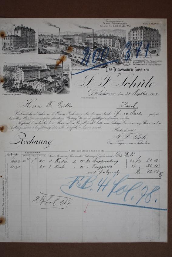 Plüderhausen, Eier Teigwaren Fabrik J.F. Schüle, Rechnungsblatt ...
