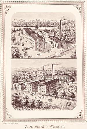 PLAUEN: Chemische Bleicherei, Färberei und Appreturanstalt F. A. Hempel (2 Betriebs-Ansichten)...