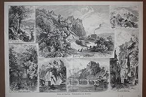 """LEISNIG und Umgebung"""". Sammelbild mit 7 Ansichten. Holzstich nach Ernst Heyn um 1880. Bildgr&..."""