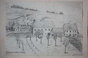 GROSSWALTERSDORF / Erzgebirge. Teilansicht mit Schule und angrenzenden Häusern. ...