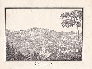 THARANDT. Gesamtansicht von einer Anhöhe. Anonyme Lithographie in Radiermanier um 1830. Bildgr...