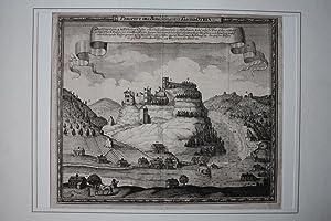 """OYBIN - """"Prospect des Berg Schlosses und Kloster Oybin gegen Mittag"""". Ansicht von Ort und..."""