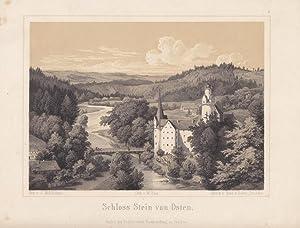 """HARTENSTEIN - """"Schloß Stein von Osten"""". Schöne Ansicht von einer Anhöhe ..."""