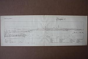 """DRESDEN. - """"Dresden"""". Gesamtansicht mit Legenden a-z und A-E. Lichtdruck um 1900 nach ..."""