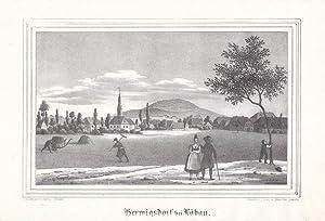 HERWIGSDORF bei Löbau / Oberlausitz. Gesamtansicht, im Vordergrund Heuernte, lä...