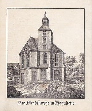 HOHNSTEIN / SÄCHSISCHE SCHWEIZ. Nahsicht der Stadtkirche, davor Familie mit Kind. Anonyme...
