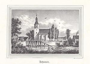 ZEHMEN bei Leipzig. Ansicht der Ortsmitte mit Kirche und Teich, im Hintergrund das Rittergut, vorn ...