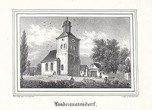 LINDENNAUNDORF bei Leipzig. Ansicht der Kirche. Lithographie von Renner nach Gustav Täubert um...