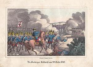 """FREIBERG. """"Die Freiberger Schlacht am 29. Octbr. 1762"""". Schlachtgetümmel, im ..."""