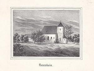 NAUENHAIN bei Geithain. Ansicht der Kirche. Anonyme Lithographie um 1840. Bildgröße : ...