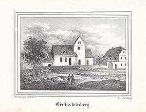 PARTHENSTEIN-GROSSTEINBERG. Ansicht von Kirche und Pfarrhaus in Großsteinberg, davor kleiner ...