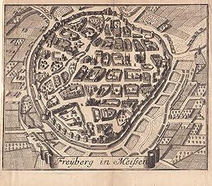 """FREIBERG - """"Freyberg in Meissen"""". Gesamtansicht aus der Vogelschau, unten Spruchband. ..."""